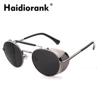 Steampunk Sunglasses Men Luxury Brand Designer 2017 Steam Punk Round Sun Glasses For Men's Hippie Vintage Retro Goggles