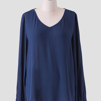 Bellina High-Low Blouse In Navy