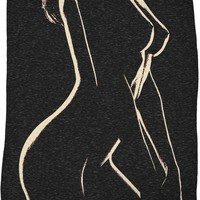 Adult series, fleece throw blanket - In the Night She Hides, sexy stencil girl