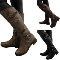 Buckle Rider Boot with side zipper