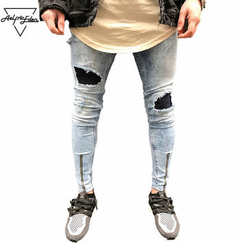 Street Popular Snowflake Whitish Men Jeans Washed Spliced Hole Jeans Casual Men's Slim Fit Jogger Jeans