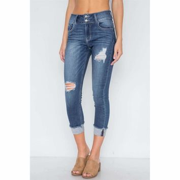 Dark Denim Cuffed Hem Skinny Jeans