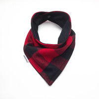 Baby Bandana Bib Scarf in Red and Black Buffalo Plaid Flannel with Snap Closure for Boy or Girl