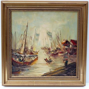 ASIAN FISHING PORT DOCKS BOATS OIL PAINTING GALERIE DU MONDE HONG KONG HK SIGNED