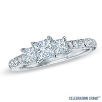 Celebration Grand® 1-1/4 CT. T.W. Princess-Cut Diamond Three Stone Ring in 14K White Gold (I-J/I1) - View All Rings - Zales