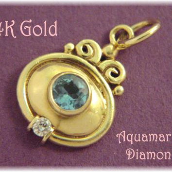 14K Gold ~ 4 Ct Aquamarine Diamond Mystic Zen Pendant - Goldsmith Treasure - FREE SHIPPING