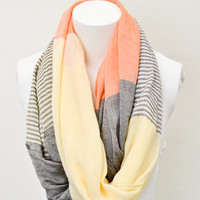 Infinity Scarves, Orange Pashmina Infinity Scarves with Pastel Stripes and Color Blocking, Infinity Scarf, Orange Scarves, Yellow Scarves