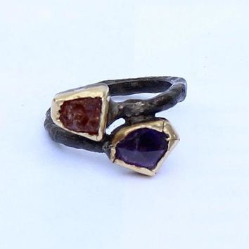 A Ring Natural Uncut Amethyst  Topaz  Gold Silver Jewelry Handmade   Ring Unique Ring Womans Ring Statement Ring Womans Ring