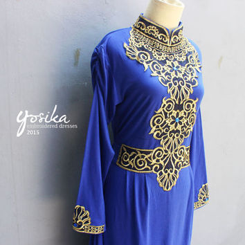 Exclusive Ocean Blue Caftan Dress Gold Embroidery Maxi Dress, Great for Wedding Bridesmaid Party Summer Kaftan Dress