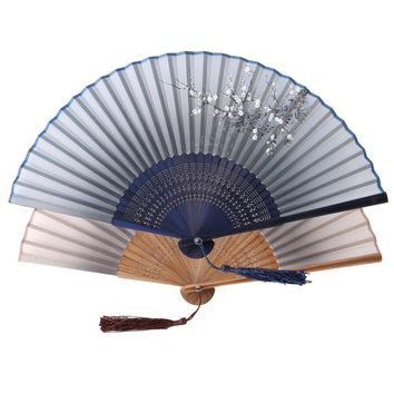 1pcs Vintage Chinese Spun Silk Flower Printing Hand Fan Folding Hollow Carved Hand Fan For Event Party Supplies Gift