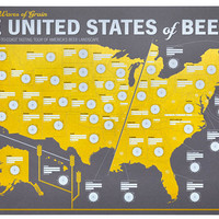 "The United States of Beer: Unique Beer Tasting Map 39"" x 25"""