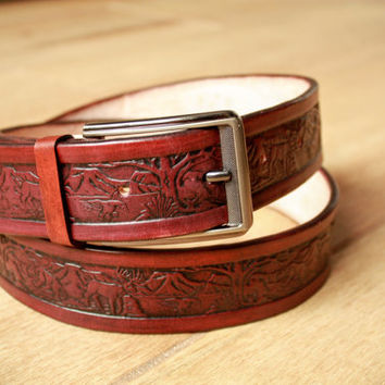 handmade leather belt, belts for men, mens leather belts, designer belts, western belts, custom leather belts, tooled leather belts mahogany