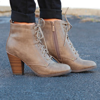 Heather Lace-Up Booties {Beige}