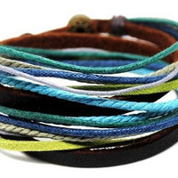 Surfer Cuff Bracelet With Leather and Rope Men Women by mooli360