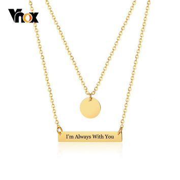 Vnox Trendy Womens Layer Bar Choker Necklace Free Custom Name Love Words Engraving Gold Color Stainless Steel ID Collar