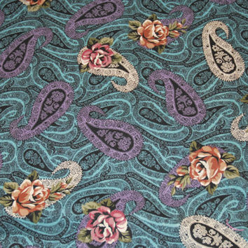 Paisley and Floral Print Cotton Fabric, Roses, Turquoise, Purple Paisley, Yardage by 45 Inches Width, Sewing Project, Skirts, Blouses, Scarf