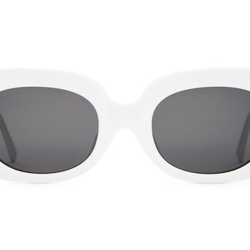 Crap Eyewear - Velvet Mirror White Sunglasses / Grey Lenses