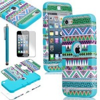 Pandamimi ULAK 3 in 1 Hybrid Green Hard Aztec Tribal Pattern and Blue Silicon Case Cover For Apple iPod Touch 5th Generation + Screen Protector + Blue Stylus
