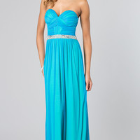 Long Strapless Blue Dress for Prom