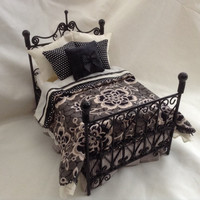 "Dolls House Luxury Dressed Black Wire Double Bed - ""Countess Violet"" - Downton Abbey Collection Exclusive"