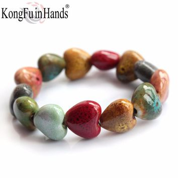 Heart Shaped vintage beads lady bracelet Bohemia Ceramic stone charm women Bangles fashion
