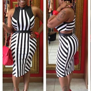 Black-White Striped Cut Out Bodycon Clubwear Band Collar Party Midi Dress