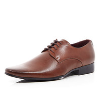 River Island MensBrown laser stripe formal shoes
