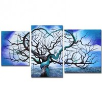 "Art Wall 3-Piece ""Origin of Life in Blue"" Gallery Wrapped Canvas by John Black:Amazon:Home & Kitchen"