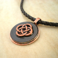 Mens Necklace: Copper and Black - Mens Jewelry - Copper Jewelry - Celtic Jewelry - Mens Necklace - Celtic Necklace - Celtic Knot - Mens Gift