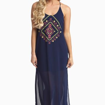 Navy Blue Tribal Print Embroidered Front Chiffon Maxi Dress