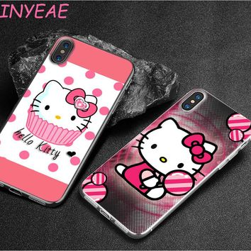 BINYEAE Pink Hello kitty cat Style Clear Soft TPU Phone Cases for Apple iPhone X 8 7 6 6s Plus 5 5S SE 5C