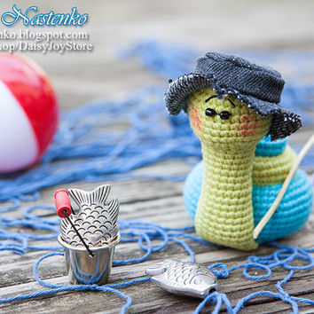 crocheted Snail Fisherman READY TO SHIP cute amigurumi Mens Birthday Gift Father's day Gift