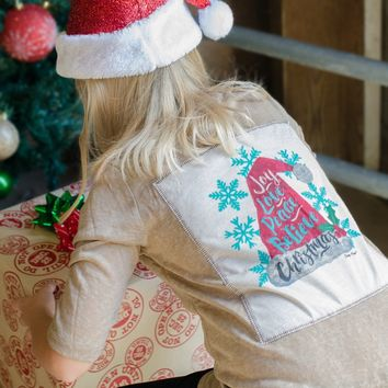 Kids Joy, Love, Peace Christmas Patched Back High Low Sweater on Tan