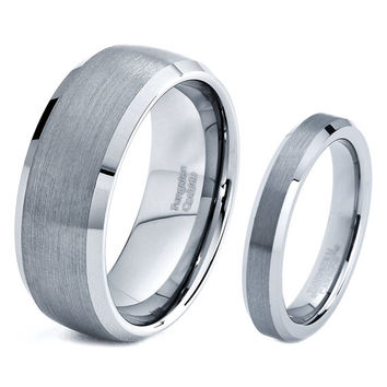 His & Hers Men Women Matching Set Tungsten Carbide Wedding Band Ring 8mm 4mm Polished Brushed 5-15 Half Sizes Custom Engraved