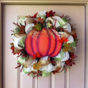 Glitter PUMPKIN Deco Mesh Wreath
