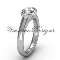 "14kt white gold engagement ring, ""Forever One"" Moissanite VD10016"