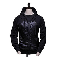 Men's Raglan Sleeve Flannelette Cardigan Zipper Leisure Fleece Hooded Jacket