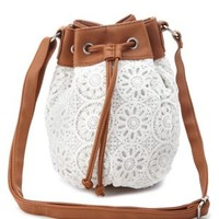 White Crochet Cross-Body Bucket Bag by Charlotte Russe