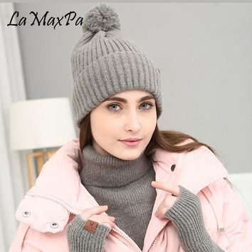 LaMaxPa 2018 New Fashion Solid Thick Women Scarf, Hat & Glove Sets Pompom Ring 3Pcs Knitted Winter Warm Beanis Wrap Drop
