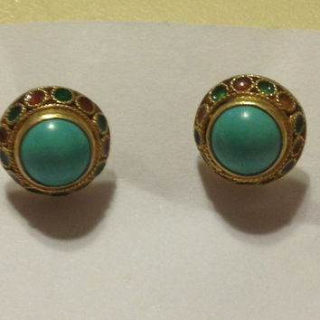 14K Persian Turquoise Earrings 1920s Studs Yellow Gold Blue Stones 3 Grams Red Green Enamel 14KT Vintage Jewelry Gift Rare Estate Antique