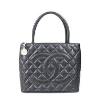 Auth CHANEL Reprint Tote Women Caviar skin tote bag