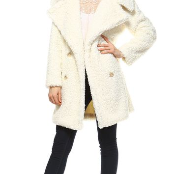 Faux Fur Double Breasted Shearling Coat