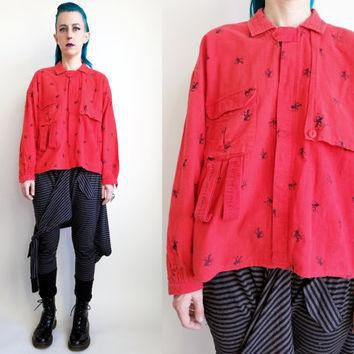 90s Clothing Flannel Shirt Red Button Down Shirt Unique Flannel Shirt Horse Jockey Pri