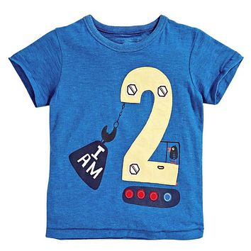 2016 Number Letter Boys Print T shirt For Kids Summer T-shirts Baby Boy Funny Birthday T-shirts Kids Boys Casual Tops