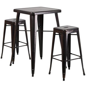 23.75'' Square Black-Antique Gold Metal Indoor-Outdoor Bar Table Set with 2 Square Seat Backless Stools [CH-31330B-2-30SQ-BQ-GG]