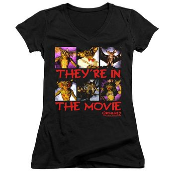 Gremlins 2 Juniors V-Neck T-Shirt They're in the Movie Black Tee