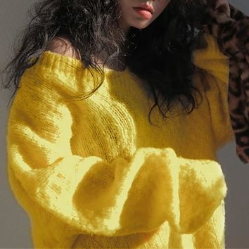 Big Bright Candy Color Oversize V Neck Sweater