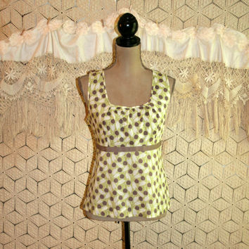 Sleeveless Summer Top Boho Sun Top Cotton Print Lime Green + Brown High Waist Anthropologie Boden Size 12 Size 14 L Large Womens Clothing