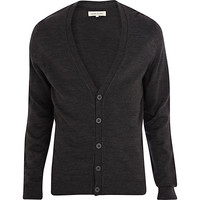 River Island MensDark grey V-neck cardigan