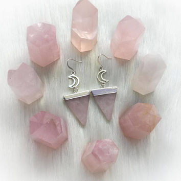 Rose Quartz Moon and Crystal Triangle Earrings electroplated polished gemstones with silver moons